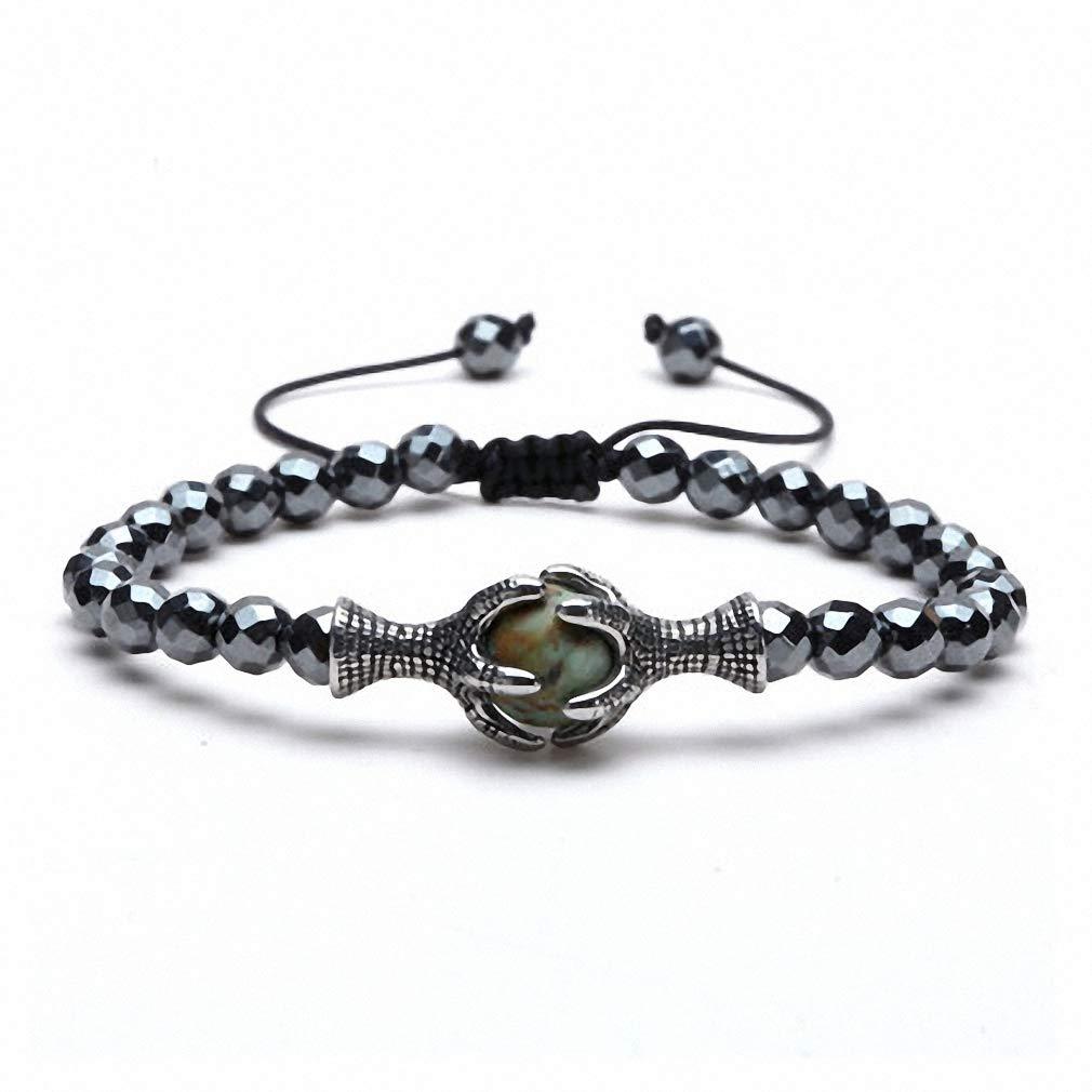Womens Bracelet Eagle Claw Charm Tiger Eye Natural Stone Bracelet for Men Hematite Beaded Bracelet Bangles Adjustable Size Male Armband