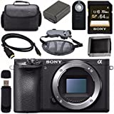 Sony ILCE6500/B Alpha a6500 Mirrorless Digital Camera (Body Only) + NP-FW50 Lithium Ion Battery + Sony 64GB SDXC Card + Mini HDMI Cable + Carrying Case + Remote + Memory Card Wallet Bundle