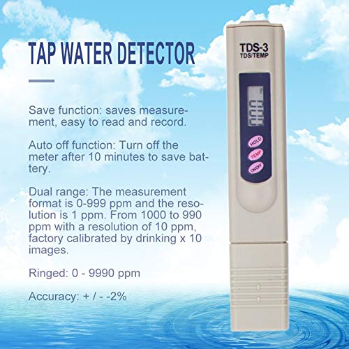 TDS Water Quality Test Pen Test Water Quality PH Water Test Instrument Test Pen Drinking Water Detector With Leather Case