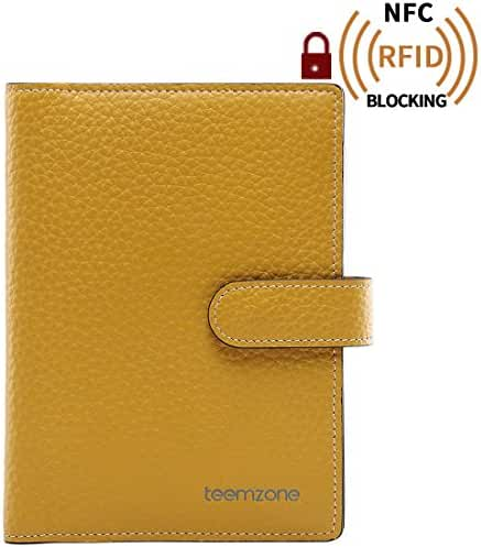 Teemzone Women's Leather Business Credit Id Card Case (K828_Yellow)