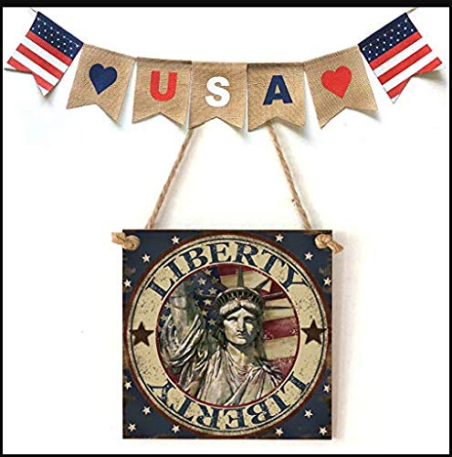 (American Flag Wooden Plaque,USA 4th of July Independence Day Wooden Plaque Sign,Wall Art, Decorative Wood Sign Home Decor,Wall Plaque Shabby Chic Garage Fence Garden Gate Sign (E))