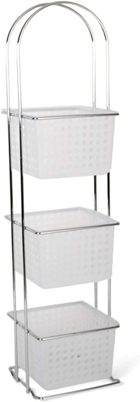 Estantería de baño 3 alturas con cajones de plástico 85x20cm