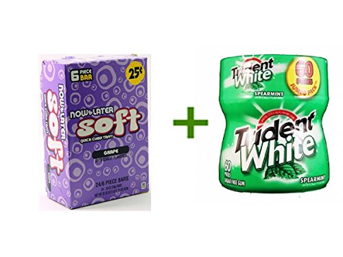 NOW&LATER CHANGEMAKERS BARS SOFT GRAPE - 25c 24/6pcs, (4 PACK), TRIDENT WHITE GUM SPEARMINT - Bottle 1/60pcs (Now And Later Soft Grape compare prices)