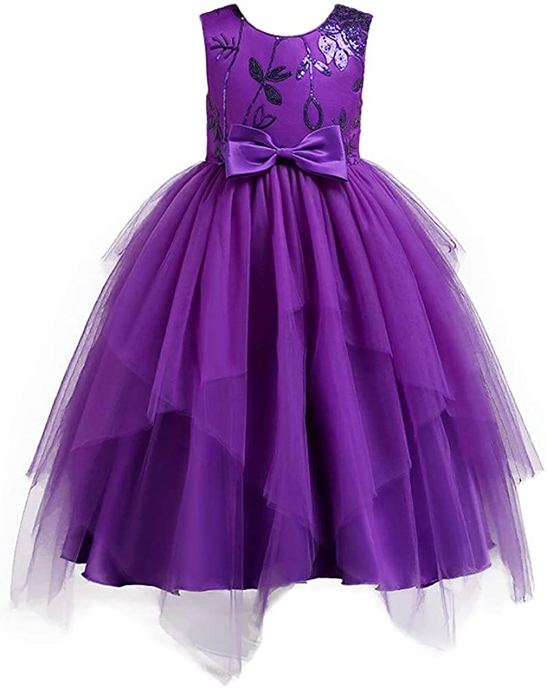 XUANOU Girls Long Sleeve Bow Princess Dress Toddler Kids Baby Girls Long Sleeve Bowknot Clothes Party Princess Dresses