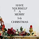 Have Yourself a Merry Little Christmas wall sayings vinyl lettering stickers home decor quotes appliques