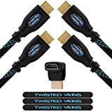 Twisted Veins HDMI Cable, 25ft, 2-Pack, Premium HDMI Cord Type High Speed with Ethernet, Supports HDMI 2.0b 4K 60hz HDR Except With Apple TV 4K and XBOX One X Where it Only Supports 4K 30hz HDR