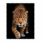 QH Tiger Printing Velvet Plush Throw Blanket Comfort Design Home Decoration Fleece Blanket Perfect for Couch Sofa or Travelling 58'' x 80'' (2)