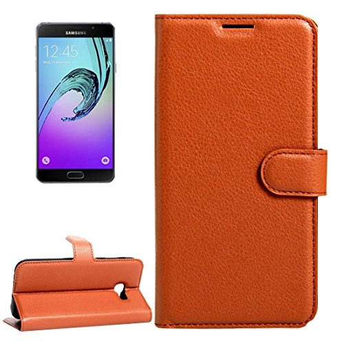 SANHENGMIAO COVER for Samsung Cellphone, for The Samsung Galaxy A3 (2017) / A320 Pebbled Cross-Over Leather Case with Magnetic Buckle Card Slot Wallet, (Color : Brown)
