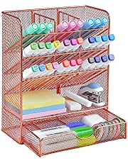 $20 » Spacrea Pen Holder Desk Organizer - Desk Organizers and Accessories, Pencil Holder with 10 Compartments and 1 Drawer(Rose Gold)