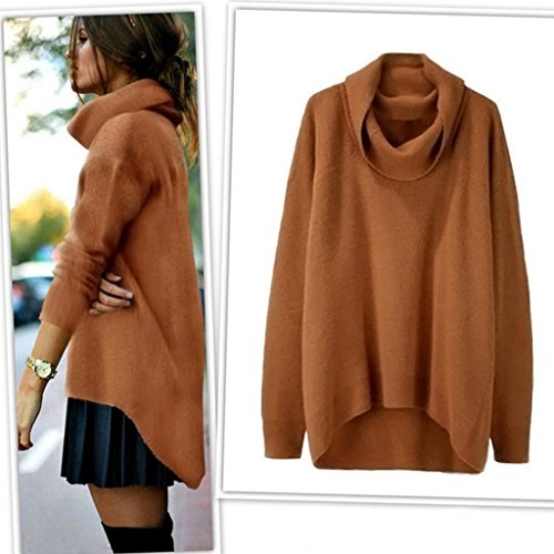 Sagton Womens Irregular Knitted Polo Neck Long Sleeve Pullover Loose Sweater (S, Brown)