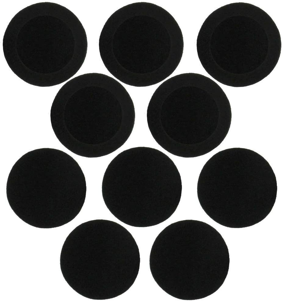 """On-Ear Cushions 59mm/2.3"""" Foam Ear Pads Headphone Headset Covers, Round (5 Pairs) Pack of 10"""