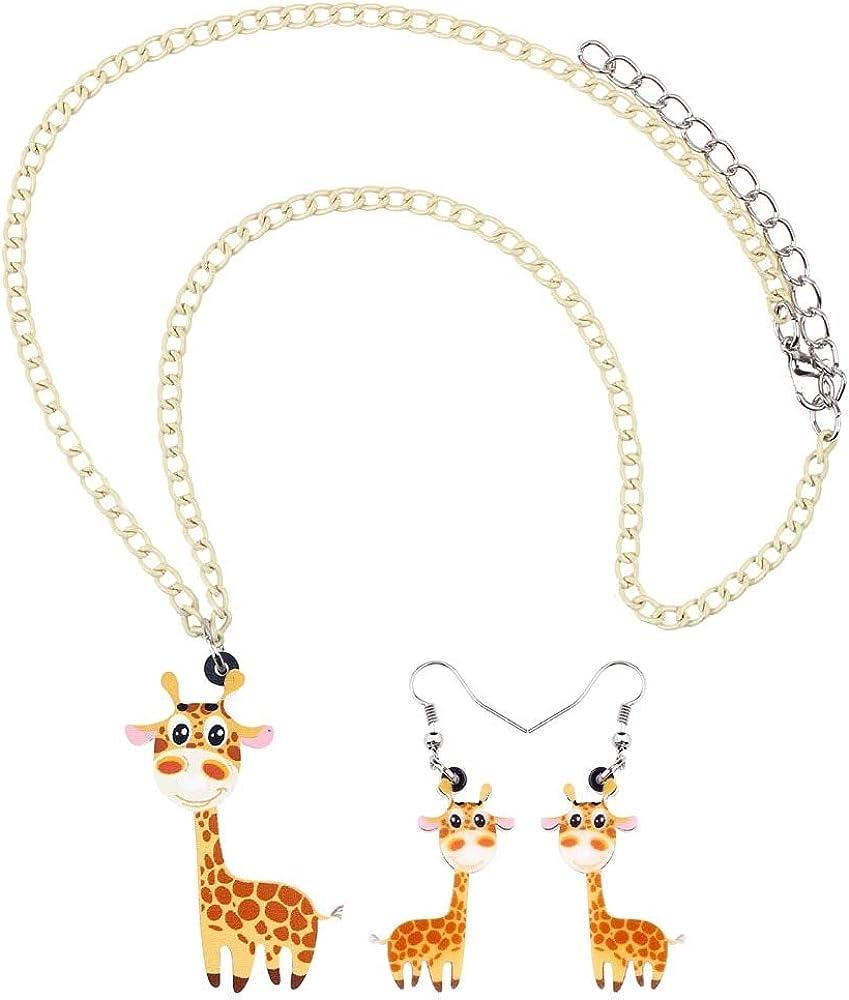 FUKAI Nouveau Mode Acrylique Bande Dessin/ée Girafe Ensembles De Bijoux Boucles doreilles Pendantes Collier Pendentif Mignon Animal Sauvage pour Les Femmes Filles Ados F/ête Cadeau du Parti