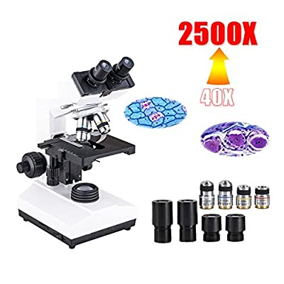 YBB XSP-104M Professional Binocular Biological Compound Microscope, 40X-2500X Magnification, Double-Layer Mechanical Stage, LED Illumination and Coaxial Coarse