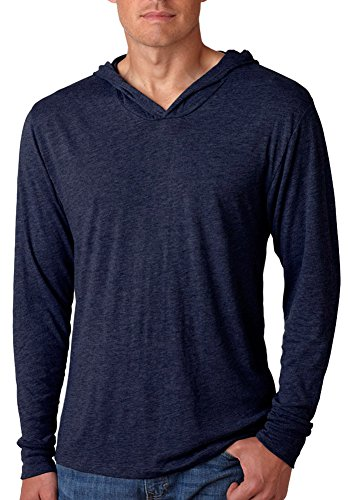 Next Level Apparel Men's Tri-Blend Extreme Soft Rib Knit Hoodie, Large, Vintage Navy