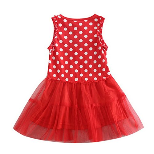 peppa pig clothing Little Girls' Summer Cartoon Lace Polka Dot Stitching Sling Cake Sundress Natural Cotton dresses,Red,3T(2-3Y)