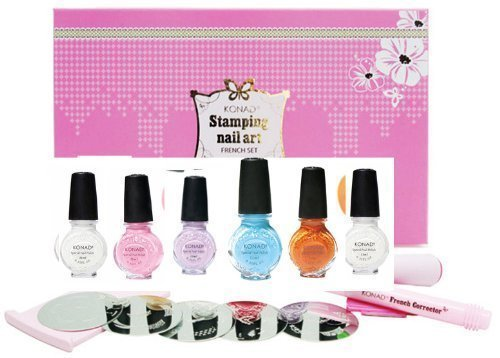 Konad Nail Art Starter Premium Pastel French Manicure Set: 5 Image PLates M19, M45, M56, M77, M80 + Clear Top Coat + 5 Special Polishes Pastel Violet, Pastel Pink, Pastel Blue, Pastel Orange, White + 2 Way Stamper + Scraper + Image Plate Holder + Nail Cor