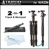 2-in-1 Professional 72 ALL IN 1 Tripod Monopod Kit For Nikon Coolpix P610, P600, P530, P510, P520, L120, L610, L820, B500, P7700, P7800, Nikon 1 J4, Nikon 1 S2, Nikon 1 J2, Nikon 1 J1, Nikon 1 V1, L340, L830, L840 Digital Camera + Lens Pen kit + More
