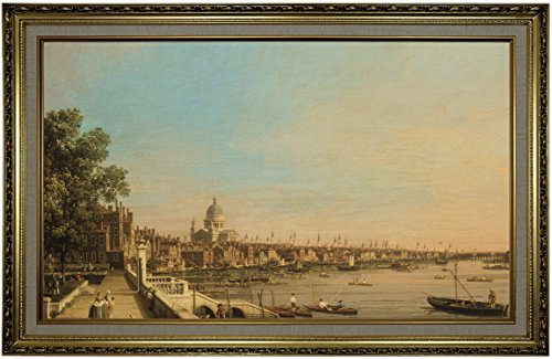 1750 Framed Canvas - Historic Art Gallery The Thames from The Terrace of Somerset House, Looking Toward St. Paul's 1750 by Canaletto Framed Canvas Print, Size 19x32, Gold
