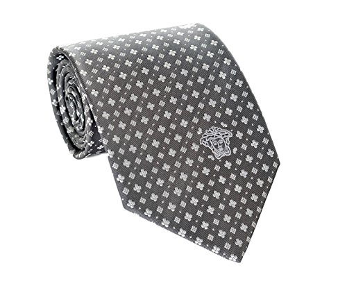Versace Men's Small Floral Print Patterned Woven Silk Necktie - Versace Floral