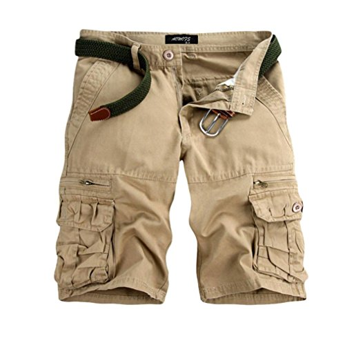 Price comparison product image vermers Hot Sale Men's Cargo Shorts Casual Pure Color Outdoors Beach Short Pants Work Trouser with Pocket(31,  Beige)