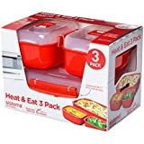 Sistema Microwave Heat and Eat 3 Pack Clear, Red, Pack of 3