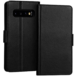"""FYY Samsung Galaxy S10+ Plus 6.4"""" Luxury [Cowhide Genuine Leather][RFID Blocking] Handcrafted Wallet Case, Handmade Flip Folio Case with [Kickstand Function] and[Card Slots] for Galaxy S10+ Plus Black"""