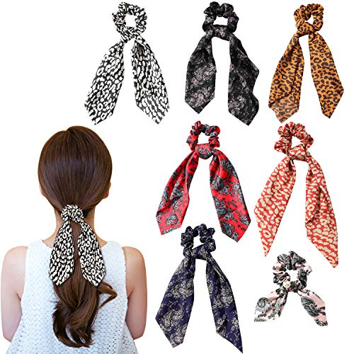 Wooyaya 6Pcs Scarves Scrunchies Tropical Travel Style Elastic Hair Bands Hair Ties Rope Ponytail Holder Hair Accessories for Women and Girls]()
