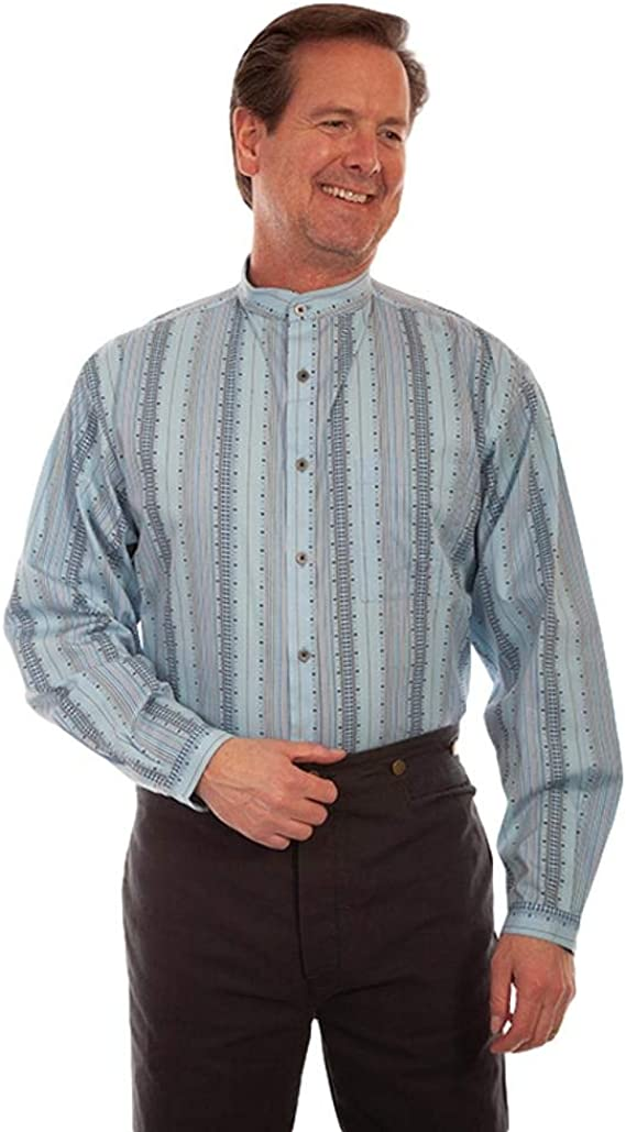 Men's Vintage Workwear Inspired Clothing Scully Western Shirt Mens Long Sleeve Print Button Light Blue F0_RW323 $58.76 AT vintagedancer.com