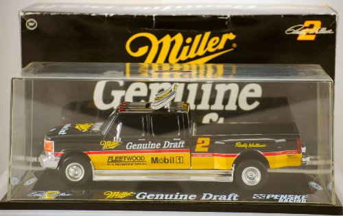 - NASCAR Action - Platinum Series - 1995 Ford 350 Dually - Penske Racing - Rusty Wallace #2 - Miller Genuine Draft - 1:24 Scale Die Cast - w/ Display Case - Limited Edition