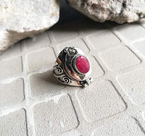 Ruby Ring 925 Sterling Silver Baguette Ruby Ring Locket Ring Ring Silver Rings Boho Jewelry Secret Compartment Ring Poison Ring Gypsy Ring Wide Band Ring Antique Ring Charm US All Size Ring (Ring Baguette Ruby)