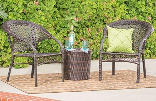 Luca Outdoor- Sunroom Furniture- Out Door Patio Furniture- Brown Wicker Three Piece Set with Round Accent Table - Great for Summer Barbecues, Garden Parties, and Afternoons Spent Lounging