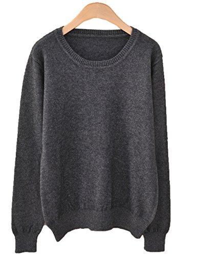 Xiouli Classic Crew Neck Merino Wool Sweater Coat For Women 958803(M,Dark gray)