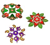 Moira 3 Sets of Small Size Acrylic Rangoli (11 inches)