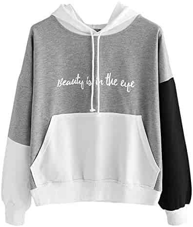 a1c1bc550d0c1 Steagoner Womens Long Sleeve Hoodie Sweatshirt with Pocket Letter Print  Color Block Hooded Pullover Tops Shirt