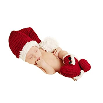 05ed73344e6 Image Unavailable. Image not available for. Color  Christmas Newborn Baby  Photo Shoot Props Outfits Crochet Clothes Santa Claus Red Hat ...