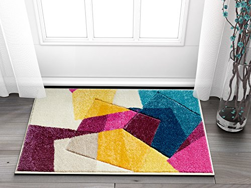 Strata Squares Blue Purple Fuchsia Yellow Orange Modern Geometric Hand Carved 2' x 3' Area Rug Easy to Clean Stain & Fade Resistant Thick Soft Plush - Hand Woven Furniture