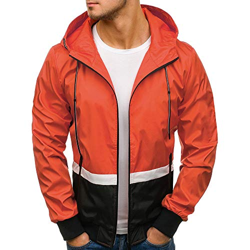 Ankola Hooded Windbreaker Men's Patchwork Sportswear Runner Jacket with Front Zip (L, Orange) by Ankola-Men's Hoodie