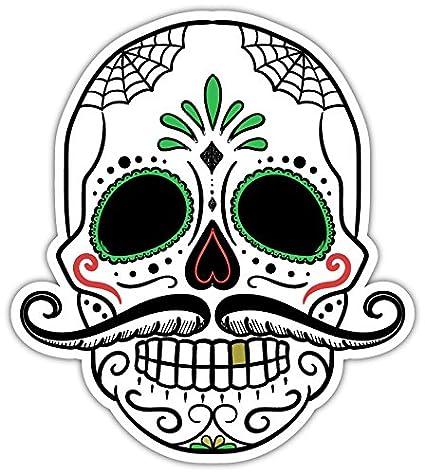 5 stickers combo deal day of the dead sugar skull rockabilly mustache bumper sticker