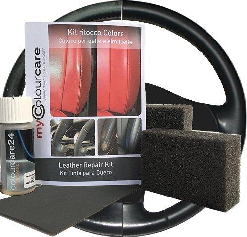 Colourcare24 - Kit ritocco vernice Volante in Pelle eco-pelle similpelle - ripristina colore tonalità Antracite opaco da 30 ml, semplice applicazione - alternativa al copri volante