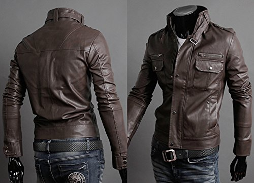 SODIAL(R) NWT Premium Maenner Schlanke Oberseite entworfene reizvolle PU-lederne kurze Jacke Mantel dunkelbraun XL