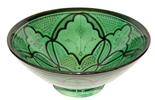 Ceramic Bowls Moroccan Handmade Serving Bowl Green (Large 12 inches)