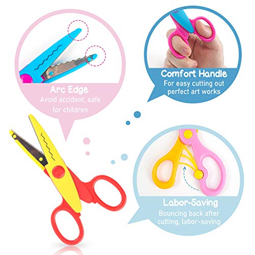 LovesTown Paper Edge Scissor Set,7 Pcs Shape Scissors Designs Pattern Scissors Craft Art Scissors for DIY Photos Album Scrapbooking