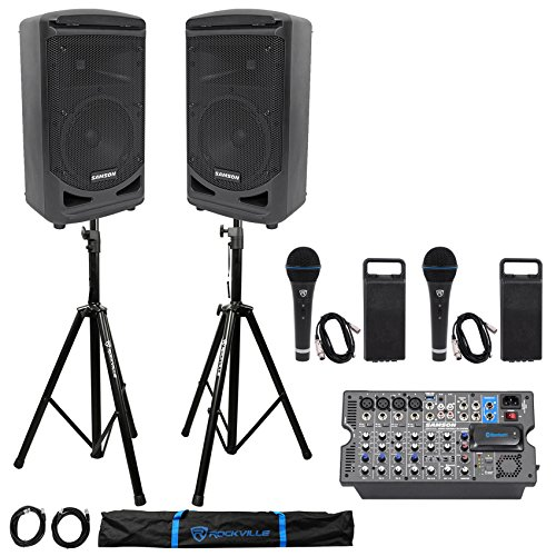 Samson Expedition XP800 800w Portable 8'' PA DJ Speakers+Mixer+Stands+Cables+Mics by Samson Technologies
