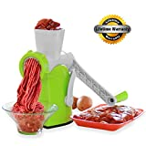 4 inch hand grinder - Zalik 4-In-1 Meat Grinder And Juicer - Hand Crank Manual Mincer With Powerful Suction Base - Essential Kitchen Tool To Grind Fish Vegetables Garlic & Fruits - Dessert Maker With Stainless Steel Blades