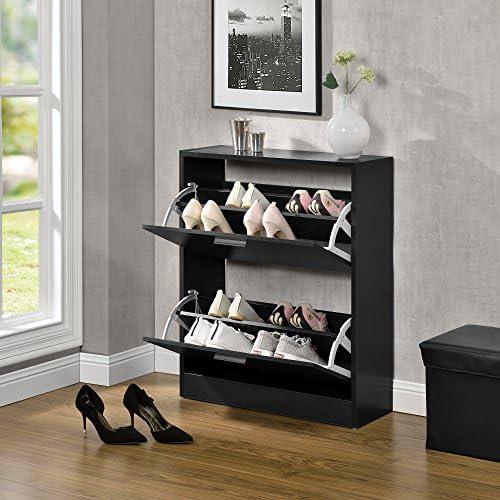 en.casa Elegante Schuhablage Schuhschrank Spanplatte mit Melaminbeschichtung Schwarz