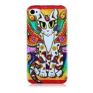 GONGXI-Modelo del gato colorido de la caja suave del silicón para iPhone4/4S