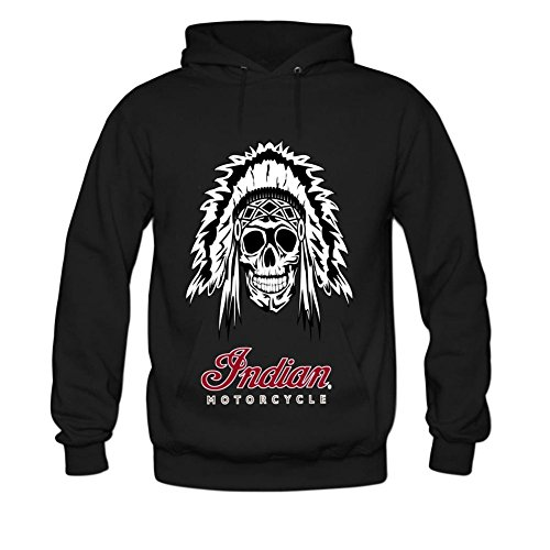 Danielrio Mens Fashion Indian Motorcycle Hoodie Sweatshirt Black 3X-Large -