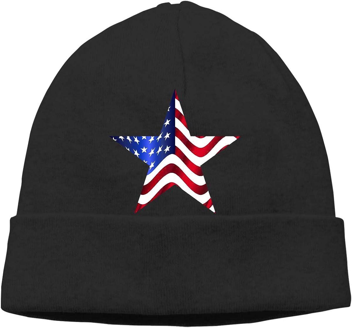 USA Star Unisex Cuffed Plain Skull Knitted Hat Beanie Cap Men Women Black
