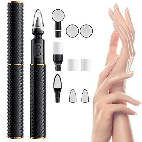 Electric Nail Drill, Vodool 10 in 1 Portable Rechargable Acrylic Nail File Manicure Pedicure Kit Handpiece Grinder, Nail Art Polisher with Polishing Tools,Speed Adjustable,Waterproof Design