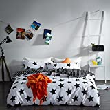 Duvet Cover Sets Fashion black and white solid color cotton quilt-sets Animal Print Quilt Cover Sheets 4pcs,D,Queen 200*230cm